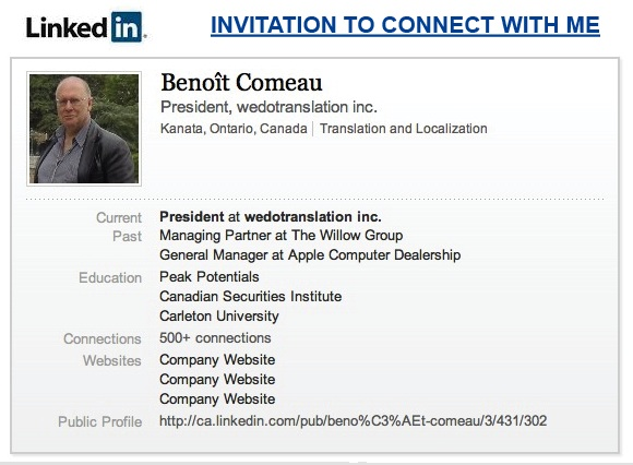 Benoît Comeau of wedotranslation inc. on linkedin